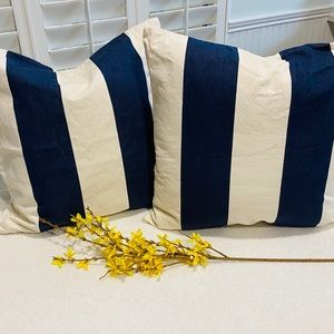 Pottery Barn Set of 2 Blue Stripe Pillow Covers